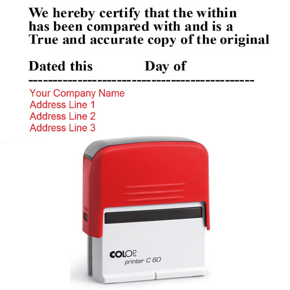 Copy Of P60 >> Certified True Copy Stamp P60 Layout 7 Rubber Stamps Ireland